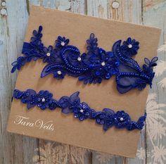 Wedding garter set, Royal Blue Garter, Rhinestone Royal Blue Garter, Bridal garters royal blue,bridal garter,Floral lace garter,Garter Set