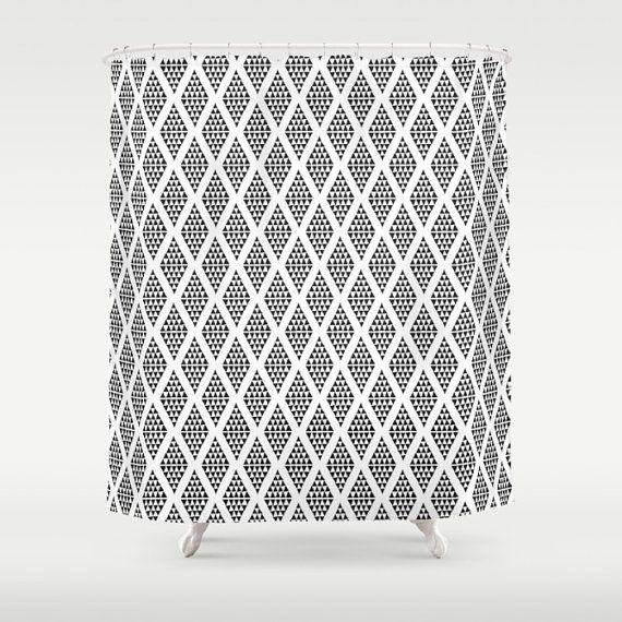 Modern Shower Curtain Scandinavian Shower Curtain Black and