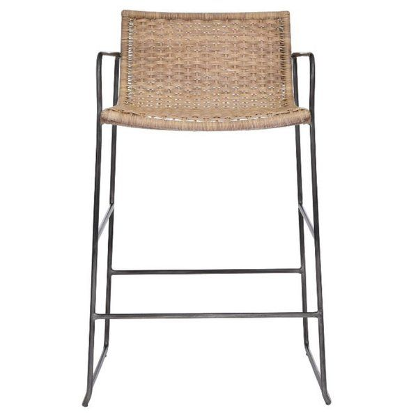 You Ll Love The Chronograph Low Back Wicker Iron Bar Stool At Perigold Enjoy White Glove Delivery On Large Items Wicker Bar Stools Counter Stools Bar Stools