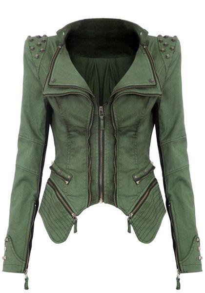 Studded Shoulder Denim Blazer - Green @LookBookStore