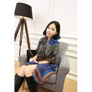 Exotic Colorful Blue Scarf