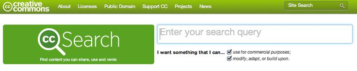 http://search.creativecommons.org Creative Commons Search allows you to sieve through massive repositories of media and resources which you are legally free to use and share.
