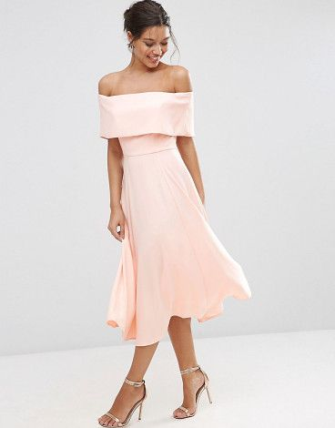 Soft off the shoulder bardot midi prom dress by Asos. Midi dress by ASOS Collection Woven fabric Fully lined Off-the-shoulder neckline Zip back closure Fit and flare style...