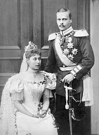 Ernesto Luigi d'Assia con la moglie Vittoria Melita