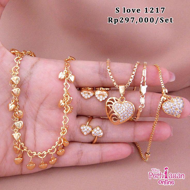 Perhiasan set emas permata zircon love Call/Wa ...