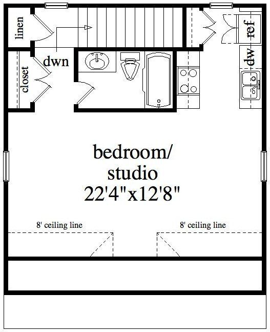 Convert garage into apartment plans google search for Studio floor plans 300 sq ft
