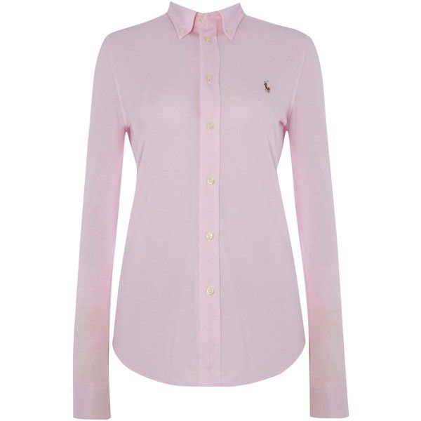 Polo Ralph Lauren Heidi oxford stretch shirt ($145) ❤ liked on Polyvore featuring tops, pink and women