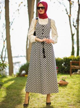 Zikzak Desenli Jile Elbise - Siyah-Ekru - Refka :: HoopSepete