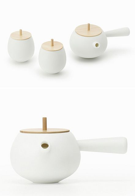Top Tea Set by Nendo - A teapot and cup set. The thick wooden lid provides good insulation to keep the tea warm, and its pointed center condenses steam into liquid and directs it back into the teapot, rather dripping down the sides. - www.nendo.jp