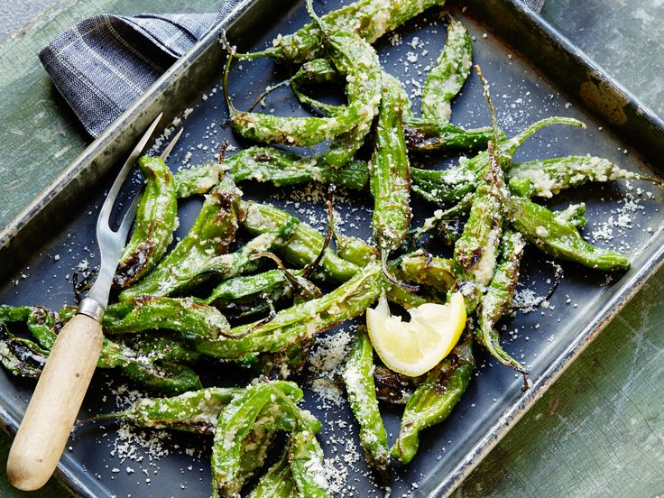 Blistered Shishito Peppers with Browned Butter, Lemon and Parmesan recipe  via Food Network