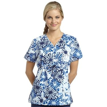 white cross womens embroidered neckline print scrub top