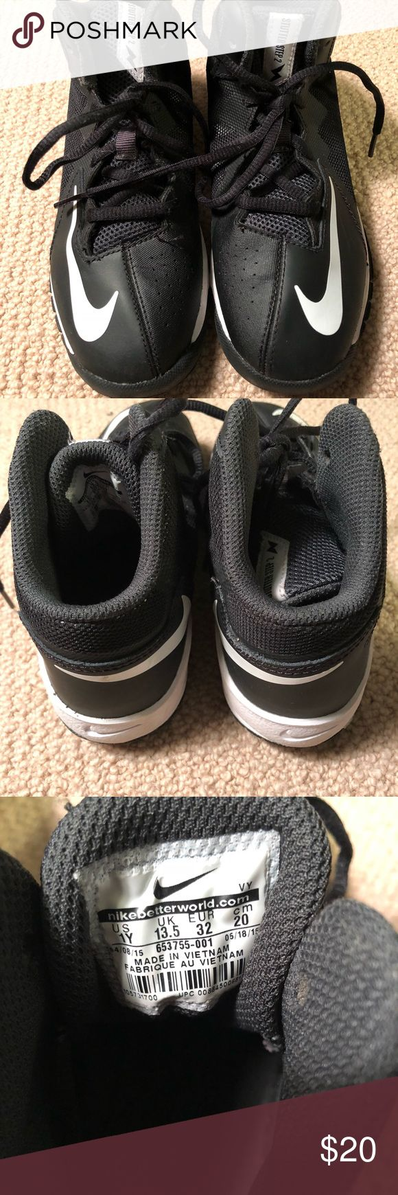 Nike Stutter Step black high tops Like new- Nike Stutter Step high top sneakers. Black and white. Only really worn to, in, and from hip hop class. Size 1Y Nike Shoes Sneakers