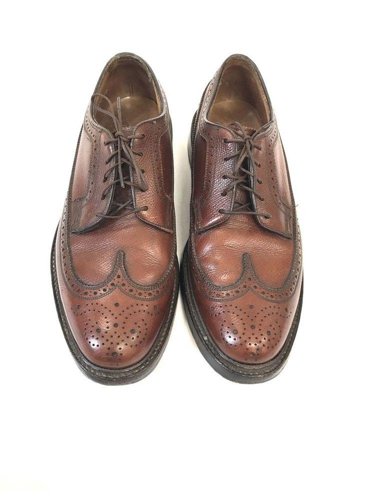 Mens VTG FLORSHEIM IMPERIAL Wingtip Brogue Cognac Oxford Dress Shoes Size 7.5 D #Florsheim #Oxfords