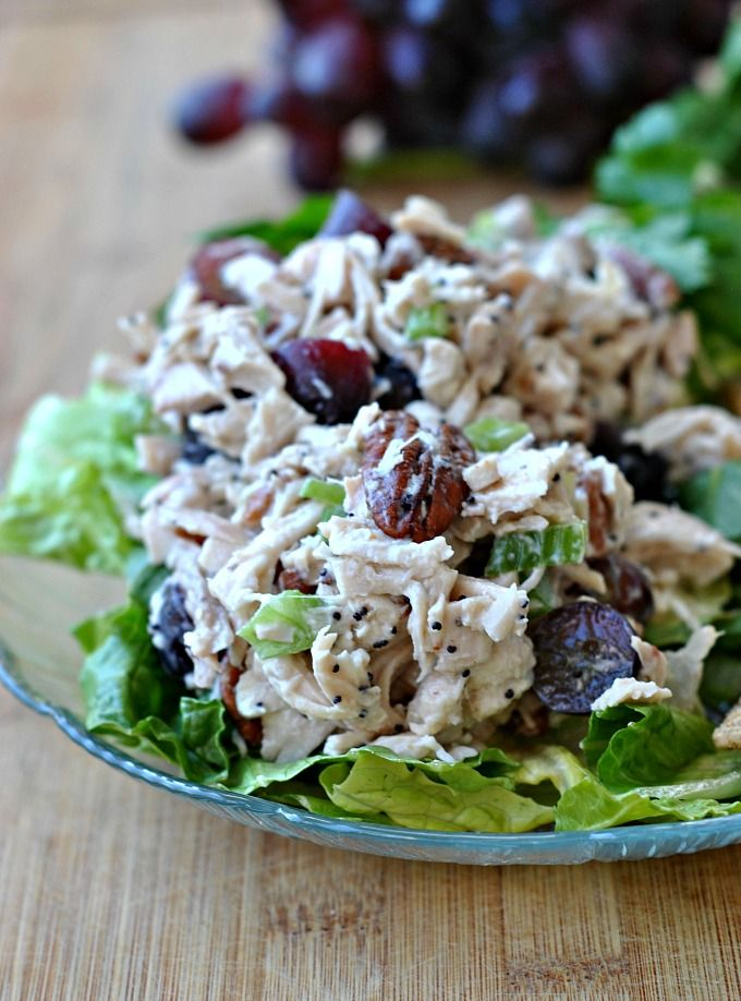 Warm weather has me craving salads, like this knock-off of Whole Foods' Sonoma Chicken Salad, made with a Rotisserie Chicken, Pecans, Seedless Grapes, and Celery. TIP: I don't care for mayo - and I substituted half Light Sour Cream and half Plain Yogurt for the mayo.  Delicious, and oil-free.  ~~  Houston Foodlovers Book Club