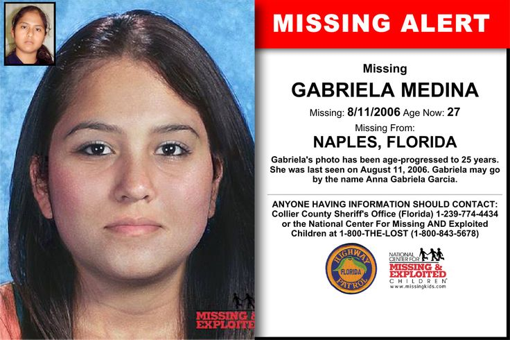 27 best missing images on pinterest missing persons kids poster missing from naples fl missing date aug 2006 am she was last seen on august gabriela may go by the name anna gabriela garcia fandeluxe Gallery