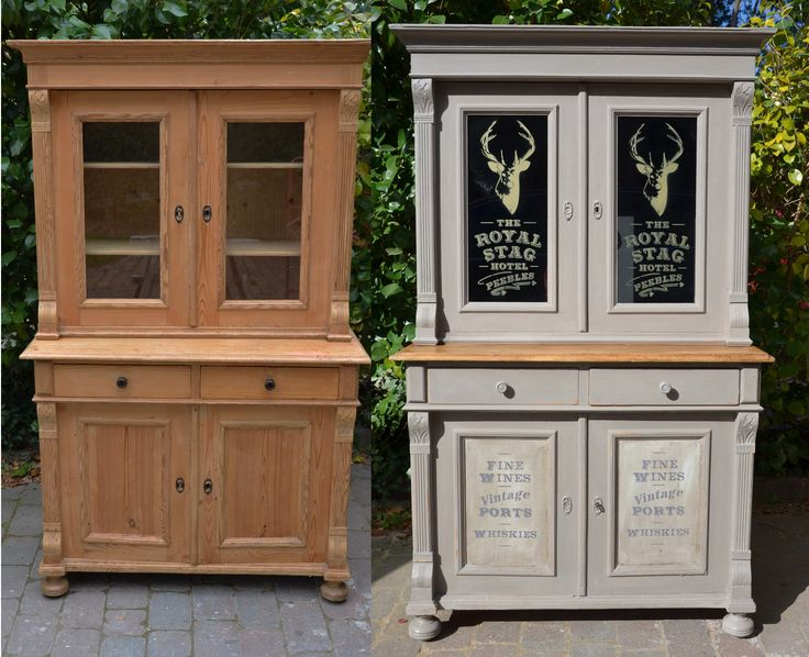 Before and after - Annie Sloan French Linen Dresser - with stencils by Dovetails