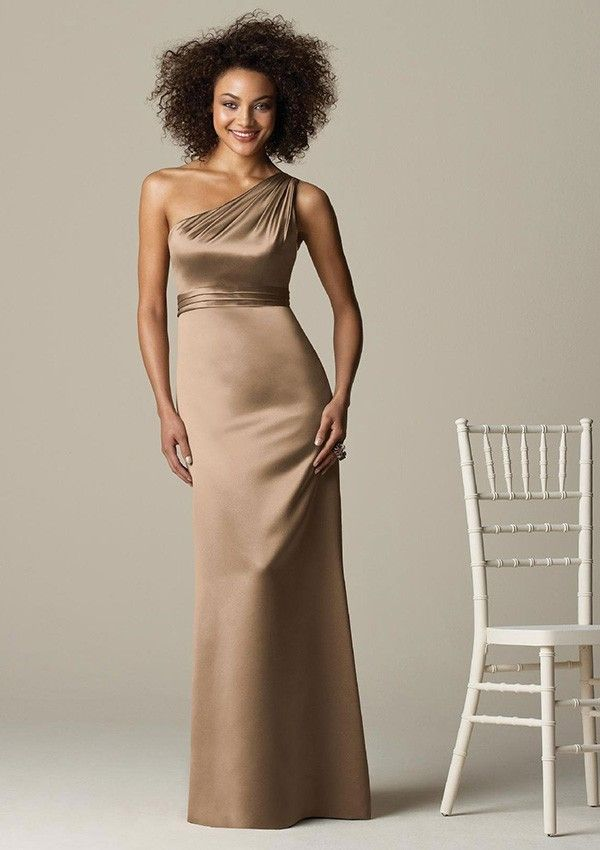Sheath One-Shoulder Floor-Length Satin Bridesmaid Dresses