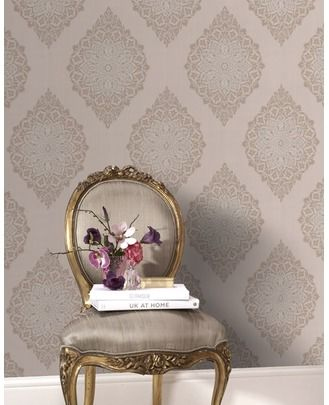 Gorgeous beige & gold metallic wallpaper from Graham & Brown.  Would be amazing in small powder, entry or dining room!