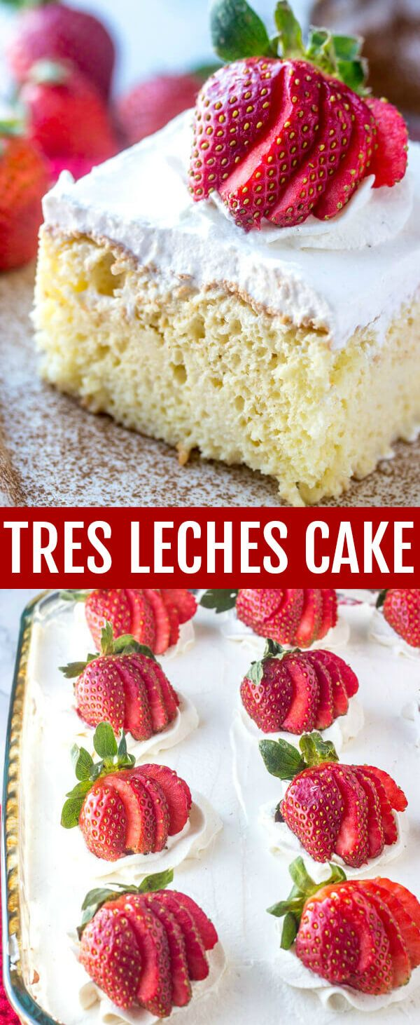 Tres Leches Cake {A Delicious 3 Milk Poke and Pour Cake} cake/white cake/tres leeches A delicious classic cake this Tres Leches Cake is poked and poured with a three milk mixture making it moist, light and absolutely irresistible! via @amiller1119