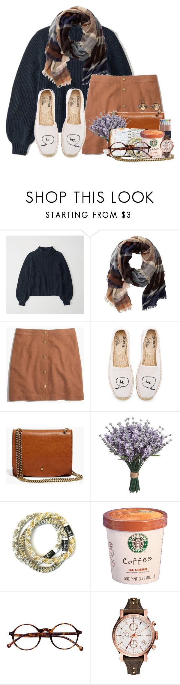 """literally everyone in my class has a cold"" by flroasburn ❤ liked on Polyvore featuring Abercrombie & Fitch, TravelSmith, Madewell, Soludos, J.Crew, Retrò, FOSSIL and Gucci"