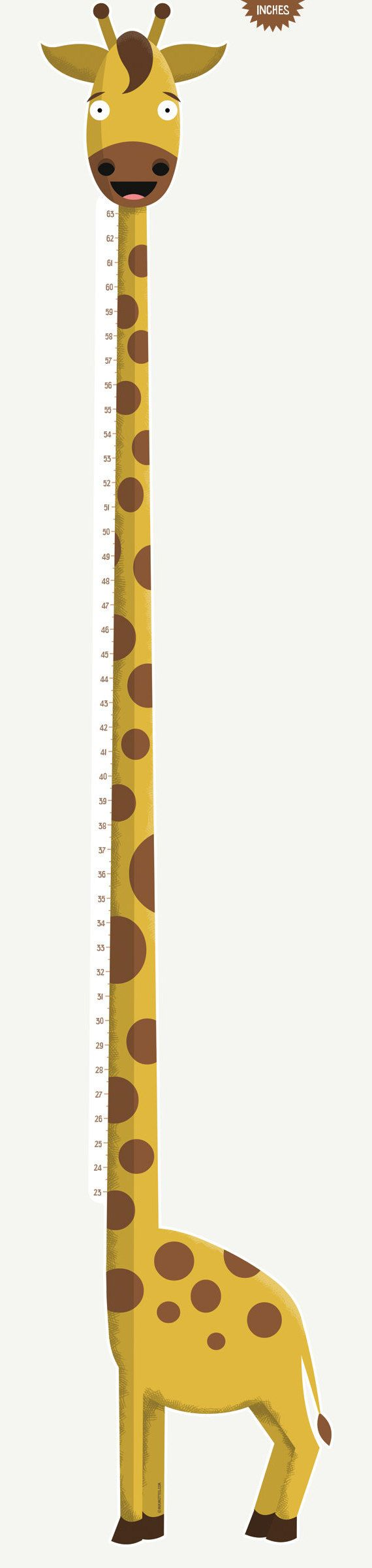 Yellow Giraffe Growth Chart for children's room inch by mikimottes
