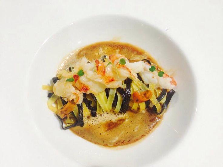 Canadian lobster, sea urchin, fresh squid ink pasta, foamed lobster fumet, citrus caviar. #chefjaimec