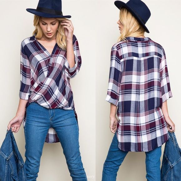 SUMMER LILY plaid scoop top - NAVY/PLUM Woven Swoop Flannel Fabric 100% RAYON Bellanblue Tops