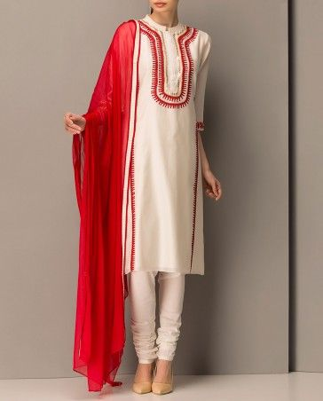 Ivory Kurta Set with Red Embroidery
