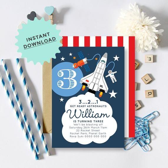 astronaut party invitations - 570×570