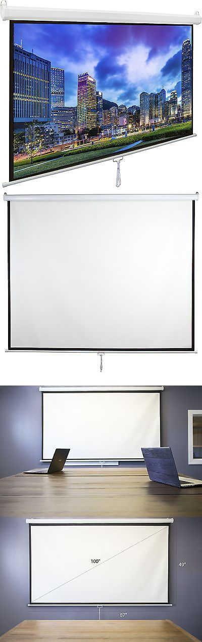 Projection Screens and Material: Vivo 100 Projector Screen 16:9 Projection Hd Manual Pull Down Home Theater -> BUY IT NOW ONLY: $65.99 on eBay!