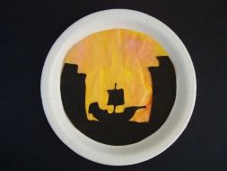 sunset pirate silhouette craft - use eyedroppers on a coffee filter. glue silhouette template and filter to paper plate.