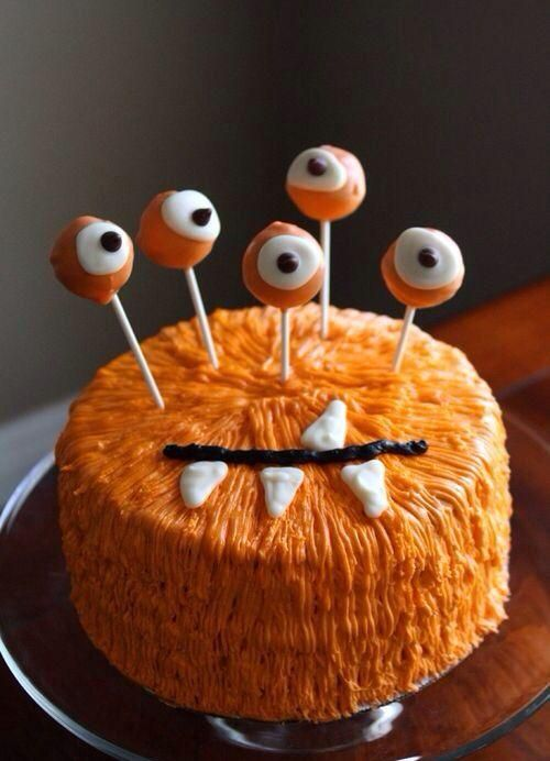 halloween torte monster orange augen sticks