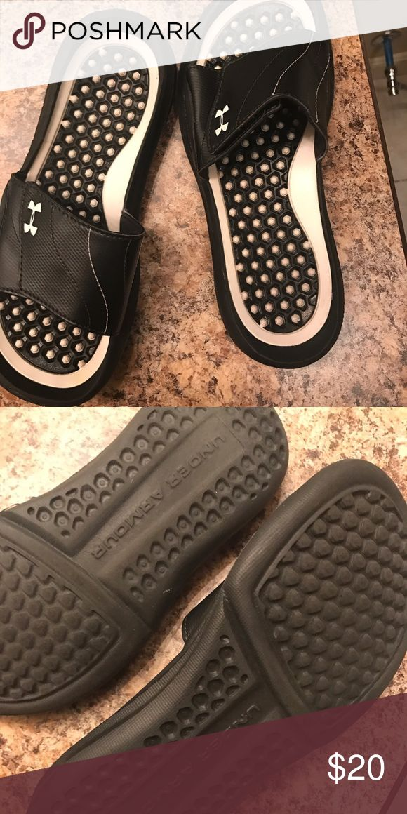 Under armor women 9 slides black white Only worn a few times Under Armour Shoes Sandals