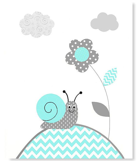 Aqua and Gray Nursery Art Print Snail Gender by SweetPeaNurseryArt, $15.00