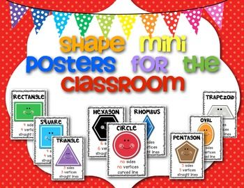 "A freebie for YOU!This is a set of 9 shape (mini) posters to brighten your classroom!I hope it will be a great resource for you and your students.If you need other 2D resources check my store for2D Shapes Printables2D ""All About"" Shapes BookletThanks for stopping by..."