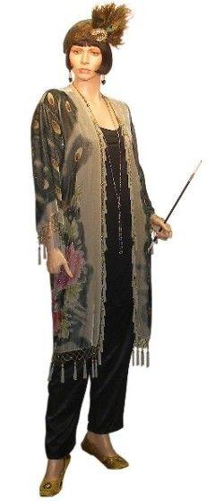 1920s women's pants | 1920's Velvet Peacock Robe