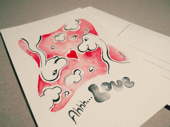 Valentine's day postcard Giraffe in love card by Marilouart, €4.00