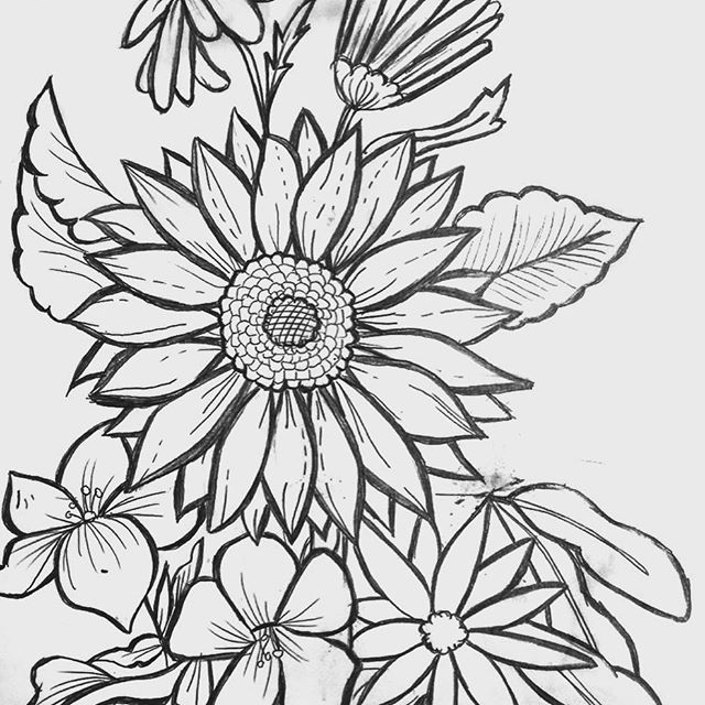 【kendellmariem】さんのInstagramをピンしています。 《#tattoo#idea#drawing#drewitmyself#sunflowers #cherryblossoms#daisies#christmascactus》