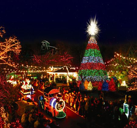 Explore the two-mile Trail of Lights at Shepherd of the Hills in Branson. There are 160 acres filled with spectacular displays of lights, characters, patriotic displays, Santa's Workshop, a nativity, and more!