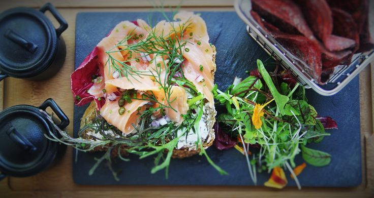 Smoked Salmon on Pumpernickel Bread with Beetroot Chips