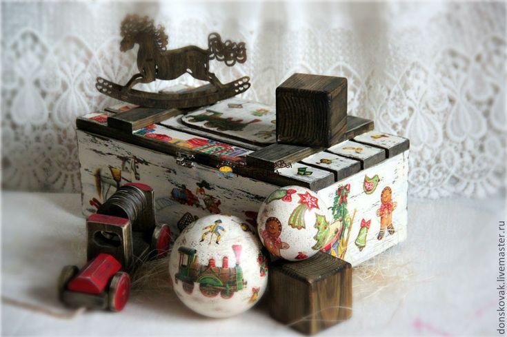 """Купить Деревянный короб-ящик """"Ретро игрушки"""" - сундучок, сундучок для подарков, сундук деревянный"""
