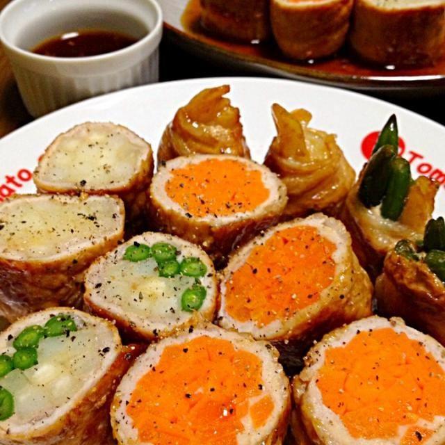 ウチでは、お肉薄め&お野菜をたくさん入れて巻きます☆ヘルシーなので、いっぱい頂きましょう♪♪♪ - 203件のもぐもぐ - 豚肉ロール焼きです。何でも巻き巻き♪今回はにんじん&いんげん&ポテトを☆ by yumyumy1