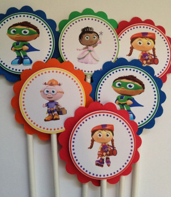 Super Why cupcake toppers, 12 ready-to-ship item on Etsy, $6.75