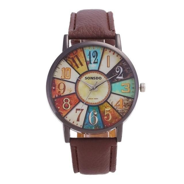 Edgy Quartz Leather Wrist Watch