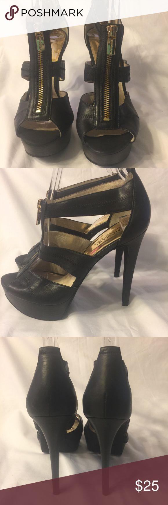 Michael Kors black leather open toe zip heels 7.5M Michael Kors black leather gold zip up open toe high heels in a 7.5M.  5 in. Heel. MICHAEL Michael Kors Shoes Heels