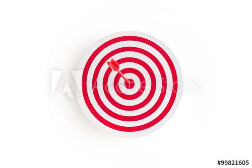 Red target with red arrow on goal, white background, business concept
