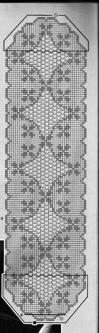 Крючок. Салфетка прямоугольная ажурная с декоративным узором в виде ромбов в технике филейное кружево
