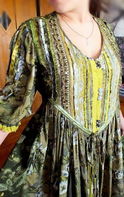 бохо-платье `Лесной Эльф`. Еще одна версия волшебной Эльфийской темы в нежных и насыщенных оливковых, фисташковых и изумрудных оттенках. Платье из натурального хлопка, очень приятное на ощупь, мягкое, удобное и комфортное.