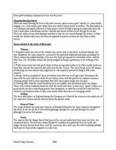 Pride and Prejudice Vocabulary Worksheet | Pride and Prejudice: Concept/Vocabulary Analysis Lesson Plan