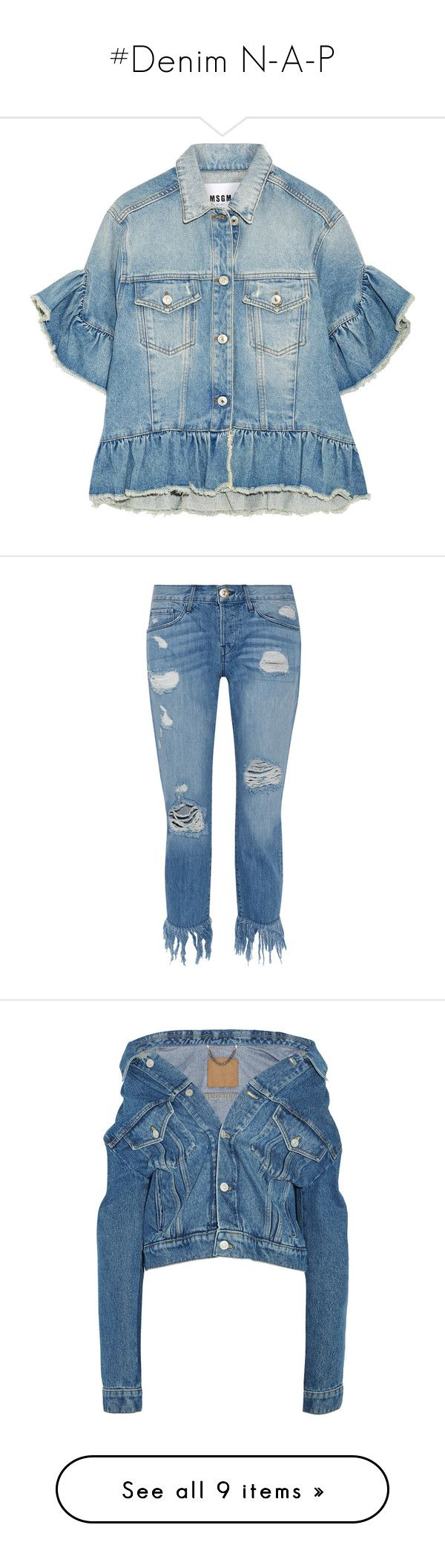 """""""#Denim N-A-P"""" by lolgenie ❤ liked on Polyvore featuring outerwear, jackets, light blue, short sleeve jean jacket, distressed jacket, blue jackets, jean jacket, ruffled jean jacket, jeans and pants"""
